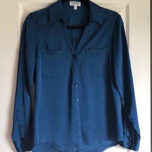 EXPRESS Portofino blouse. Navy/teal blue